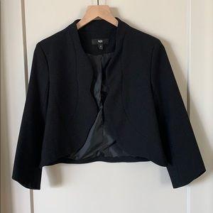 Black Blazer with Scalloped Detail